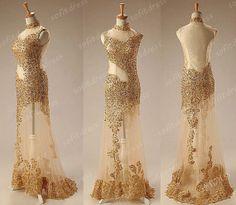 Long Prom Dress Gold Lace