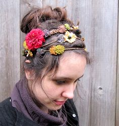 colorful, multiple flower headbands, barettes, pins, layered, grecian, fairy, bohemian, boho chic, hippie