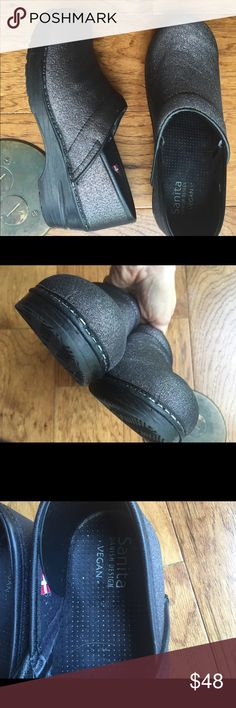 Sanita Dansko mint clogs nurses shoes sparkling 38 Made in Norway great condition like new great sole worn couple of time black sparkling vegan euro 38 us 7.5 8! Dansko Shoes Mules & Clogs