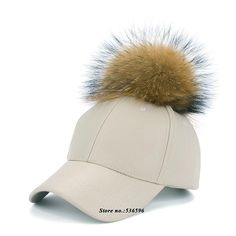 2016 New real fur pom pom cap for women Spring candy color PU baseball cap with real