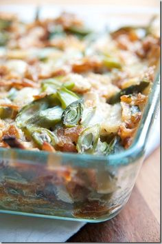 Green Bean Casserole with Homemade Crispy Shoestring Onions