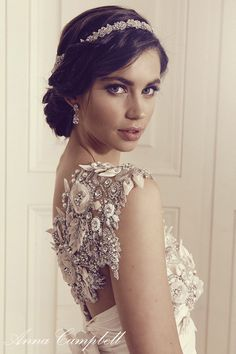 Pin on Wedding Dresses The details in these Anna Campbell wedding dresses are truly capitivating with their lace and beaded details and luxurious designs. Wedding Hair And Makeup, Bridal Makeup, Bridal Hair, Anna Campbell, 2016 Wedding Dresses, Wedding Gowns, Bridal Headpieces, Bridal Gowns, Classic Wedding Dress
