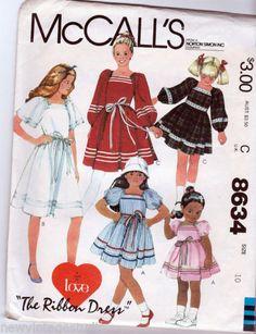 THE-RIBBON-DRESS-McCalls-8634-1983-Sewing-Pattern-Girls-Size-10-FF
