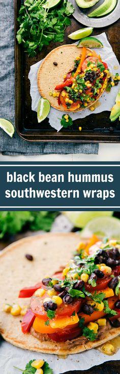 Southwestern Veggie Hummus Wraps