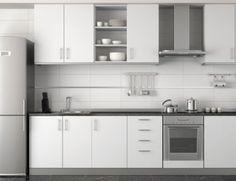 armário para cozinha planejada branco com prata