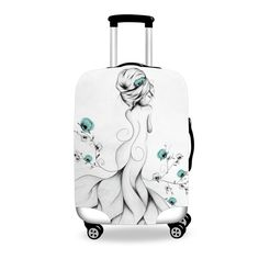 Poppy Poem  Poetic Flamingo  #luggage #cover #art #boho #bohochic #forudesign #loujah
