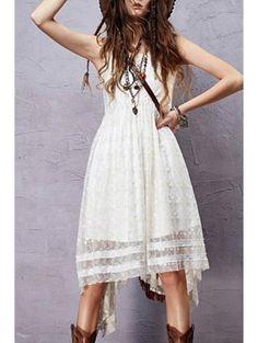 Sleeveless Embroidered Irregular Hem Dress - White
