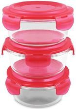 Glass Food Storage Container Set - Round - 620 Ml - Red - BPA Free - FDA - - Or