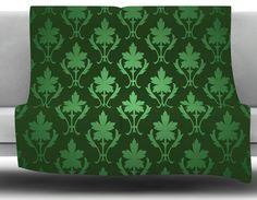 Emerald Damask Fleece Blanket