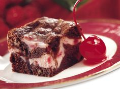 Cream cheese, maraschino cherries and chocolate create a trio of delight in fudgy brownies.