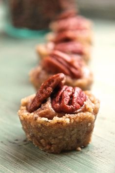 Raw Pecan Pie Tartlets. Gluten, Dairy, & Sugar Free, made with only THREE ingredients! I made these for my daughter's birthday party and they were a big hit!