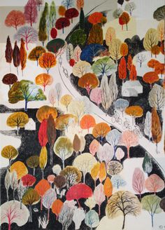 Uphill | Screen print by Eliza Southwood