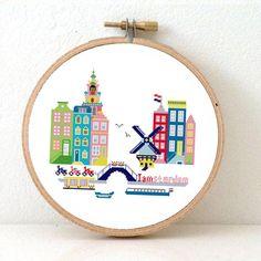 Sunny Modern Amsterdam - Modern Cross Stitch Pattern. Embroidery pattern PDF to make Amsterdam cityscape. Instant Download.