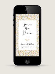 Save the Date électronique Aurore pour smartphone, à envoyer par email ou SMS