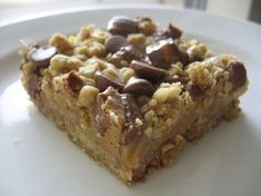 Peanut Butter and Oatmeal Dream Bars (note to self: try peanut butter chips mixed with milk chocolate chips - instead of cut up candy)