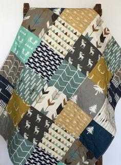 Modern Baby Quilt, Woodland Crib Bedding, Woodland Crib Quilt, Navy and Mustard Quilt, Crib Bedding Boy, Baby Bedding Woodland