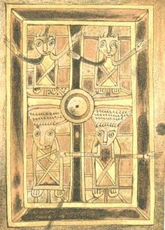 Book of Deer - Crucifixion: four people around the cross. Ancient Celtic Book.