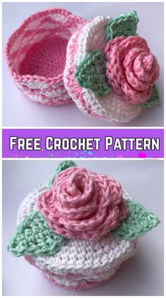 Crochet Romantic Rose Jewelry Box Free Crochet Pattern - Crochet Romantic Rose Jewelry Box Free Crochet Pattern The Effective Pictures We Offer You About je - Crochet Puff Flower, Crochet Box, Love Crochet, Bead Crochet, Crochet Gifts, Crochet Flowers, Beautiful Crochet, Crochet Buttons, Crochet Purse Patterns