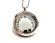 Living Locket - Floating Charm Locket With Birthstones - Hand Stamped Jewelry