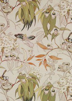 May Gibbs (Australian, Gumnut babies. Textile Patterns, Print Patterns, Textiles, Australian Art, Australian Vintage, Fabric Wallpaper, Printing On Fabric, Illustration Art, Artsy
