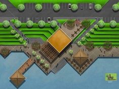 Landscape Architecture Design, Landscape Plans, Green Landscape, Site Development Plan, Parque Linear, Urban Ideas, Site Plans, Modern Landscaping, Urban Planning
