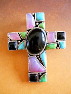 Multi Gem Cross Pendant Sterling Silver by RenaissanceFair on Etsy, $55.00