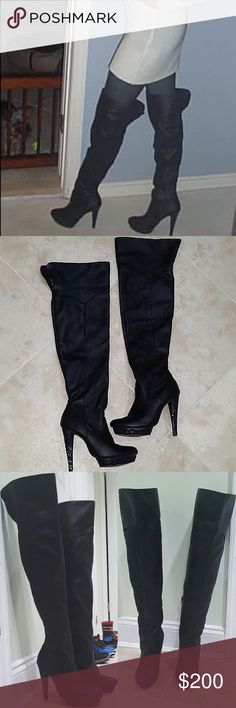 """Leather Thigh-high Boots """"G by Marciano"""" Leather thigh-high boots in great condition. Have zippers on the inside leg to put on/off. The sole and heel are covered with a snakeskin print. The top of these can be cuffed down to knee hight. These are my FAV, I don't even want to part with them but haven't worn them a lot & feel like someone else will show them more love. Only flaws are scuffs on the inner side bottom of both boots (last picture). Guess Shoes Over the Knee Boots"""