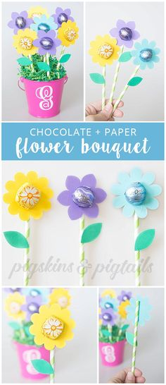 Teacher Appreciation Flower Gift with Dove Chocolates | Digital SVG cut file for the flowers available at pigskinsandpigtails.com #appreciationgifts