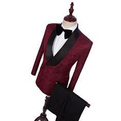 02012d1e01ac New Style Burgundy Jacquard Black Pants Groom Tuxedos Shawl Lapel Men Suits  Wedding Best Man Blazer