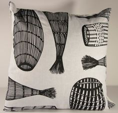 Cushion cover - Fish traps Design by Injalak Women Artists Aboriginal People, Different Stitches, Weaving Techniques, Cushion Covers, Fabric Design, Screen Printing, Old Things, Cushions, Fish