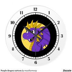 Purple dragon cartoon wall clocks
