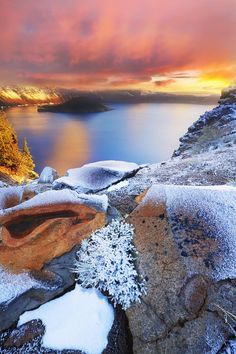 Crater Lake on a winter evening