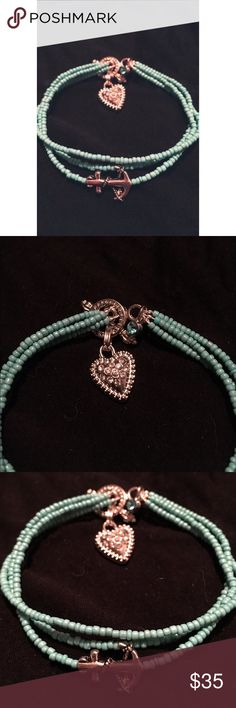 🎉FLASH SALE🎉Turquoise & Silver Anchor Bracelet ⚓️🌺⚓️ Handmade in Minnesota! ⚓️🌺⚓️ Simple & elegant, this wonderful, hand-crafted bracelet features three strands of turquoise, center strand has a wonderful, solid silver Anchor pendant with unique details, a silver, gemstone-paved heart charm which dangles from a silver, toggle clasp closure with lovely & unique details! There is also a turquoise/aquamarine colored gemstone charm on the toggle clasp. 😊 ⚓️💋⚓️ Reasonable Offers Welcome…