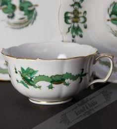 Meißener Grüner Reicher Hofdrache Teetasse, Untere & Teller/ Gedeck**