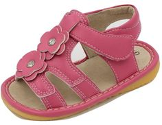 Hot Pink Two Flowers Girl Squeaky Sandals Shoes *** Trust me, this is great! Click the image. : Girls sandals