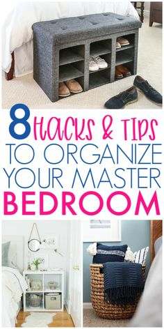 8 Hacks to organize the master bedroom! Your Master Bedroom should be a place you go to rest and enjoy! Not a cluttered room with clothes, shoes and blankets everywhere! So check out these brilliant organizing hacks for your master bedroom! Small Bedroom Organization, Bookshelf Organization, Bedroom Storage, Organization Hacks, Organize Bedroom Closets, Organizing Solutions, Organizing Tips, Organising, Clean Bedroom