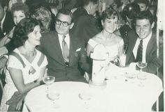 (L To R) Ellen Berlin (daughter), Irving Berlin, Debbie And Eddie Fisher At The Mocambo Nightclub
