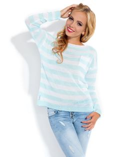Green and White Stripped Woman Blouse, Sweater! Buy online!
