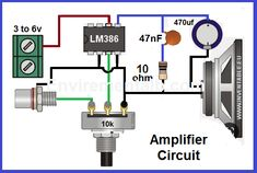 In this article we are going to show you a simple audio amplifier circuit. Circuit diagram of the based audio amplifier is shown in the given. Basic Electrical Wiring, Electrical Circuit Diagram, Electrical Projects, Electronic Circuit Design, Electronic Engineering, Electrical Engineering, Electronics Mini Projects, Diy Electronics, Componentes Smd