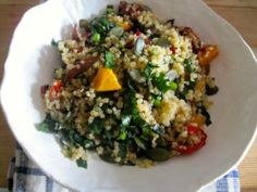 *testing* autumn quinoa salad: ***butternut squash*** (push a fingernail into the rind, will not puncture if ripe, also one that is generally large and heavy, even toned no green tinge), quinoa, red peppers, Black pepper, red onions, mirin, balsamic vinegar, Lacinato kale leaves, lemon, apple cider vinegar, Toasted pumpkin seeds (this sounds like all my favorite things!)