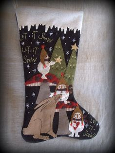 Let it Snow Christmas Stocking PRINTED PATTERN by cheswickcompany, $8.95