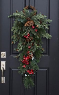 Christmas Door Swag Christmas Wreaths Holiday Decor Wreaths Swags Pine Wreaths Holiday Wreath Apples and Berries Home Decor Pinecones This go Christmas Door Decorations, Christmas Swags, Holiday Wreaths, Rustic Christmas, Christmas Holidays, Christmas Crafts, Christmas Ornaments, Harrods Christmas, Christmas Wreaths For Front Door