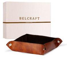 Lari Taschenleerer aus recyceltem Leder, Handgearbeitet in klassischem italienischem Stil, Ordentlich Tablett, Hellbraun (18x18 cm)
