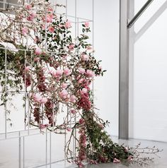 BALANCE - having one large floral arrangement allows for smaller table centrepieces. Floral Style, Floral Design, Floral Wedding, Wedding Flowers, Flower Installation, Floral Backdrop, Hanging Flowers, Wedding Stage, Industrial Wedding