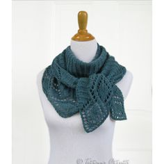 Long teal lace scarf hand knit leaf shawl green textured wrap gift... ($119) ❤ liked on Polyvore featuring accessories, scarves, wrap scarves, hand knit shawl, green scarves, shawl scarves and lacy scarves