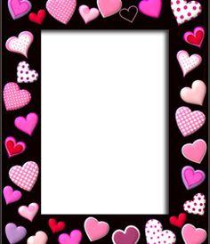 marco para fotos con corazones rosas sobre fondo negro de diferentes tamaños y formas. #fotoefectos #fotoefectos.com