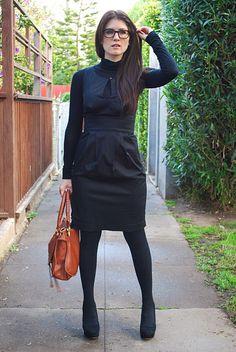 Black Tights + Black Turtleneck + Black Dress
