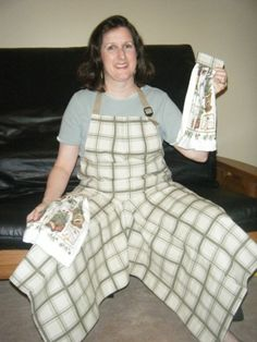 Pottery Apron with Ultimate Coverage Split Leg Panel in cream and moss plaid canvas with Herb Towels by claydogstudio at Etsy