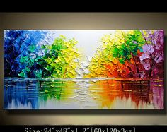 contemporary wall art, Palette Knife Painting,colorful tree painting,wall decor  Home Decor,Acrylic Textured Painting ON Canvas by Chen 0630