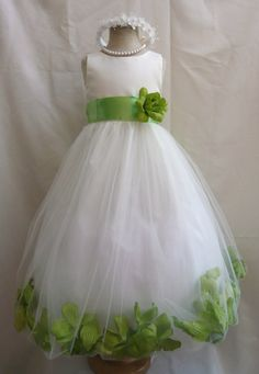 Flower Girl Dress IVORY/Green Apple PETAL Wedding Children Easter Bridesmaid Communion Green Apple Gold Fuchsia Burgundy Brown Blue